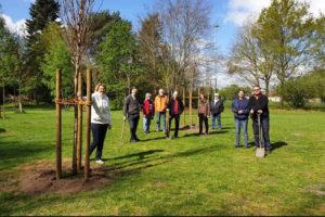 SPD-Mitglieder beim Baum pflanzen